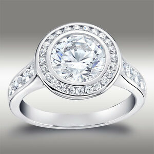 3.06 CT BRILLIANT ROUND CUT HALO LAB ENGAGEMENT RING WITH BAND 14K WHITE GOLD