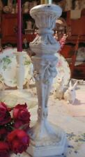 Vintage Composite Shabby Chic White Candle Stand Holder Barbola Roses Bows