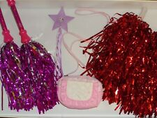 carnaval enfant pompons de cheerleader pom-pom girl + baguette étoile+ sac