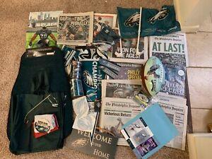 philadelphia eagles bundle SUPER BOWL: ball, newspapers, tickets, & more