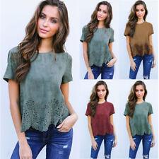 AU Fashion Women Suede Top Short Sleeve Shirt Casual Blouse Loose T-shirt Summer
