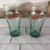 Set of 2 Coca Cola Coke Christmas Holiday Glasses Holly Leaves & Bells