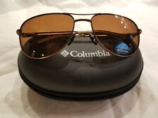 NEW COLUMBIA LEWIS AVIATOR SUNGLASSES C302 60-17-130 Brown Polarized w Case