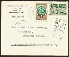 1962 Registered Cover 25c Paper/Resources RPO CDS Ingersoll Ont to Woodstock