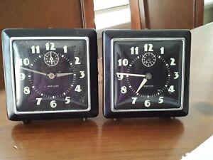 Lot 2 Vintage Westclox Big Ben Alarm Clock Square Art Deco USA Parts or Repair