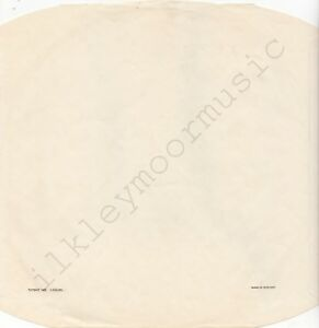 """Vintage INNER SLEEVE or SLEEVES 12"""" paper noc cc blk NO. 1,125,555, ENGLAND x 1"""