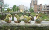"""Garden Statue Green Birds Resin Patio Lawn 5.9"""" Outdoor Home Decor Magpie Set 4"""