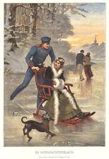 Schlitten fahren an Weihnachten, Weihnachtsurlaub, Original-Farbholzstich 1894