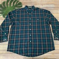 Orvis Mens Button Up Shirt Size XL Dark Green Brown Plaid Long Sleeve Cotton