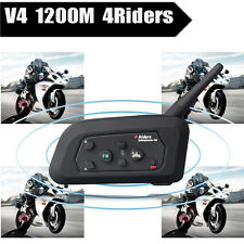 BT Motorcycle Bluetooth Intercom Helmet Interphone Headset V4 1200m 4 Riders FM