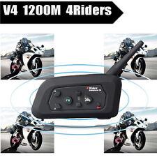 BT Motorcycle Bluetooth Intercom Helmet Interphone Headset V4 1200m 4 Riders FM