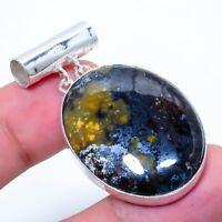 "Pietersite Gemstone Handmade 925 Silver Jewelry Pendant 1.77"" ARAK-271"