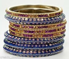 Chamak by Priya Kakkar Set of 8 Purple & Blue Bangles NEW MSRP $138 GORGEOUS