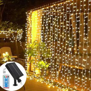 300 LED Outdoor Curtain Fairy String Lights Hanging Gazebo Patio Window Garden