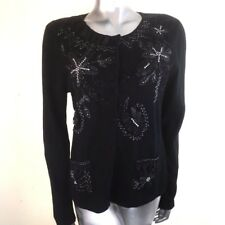 Beautiful Gerry Weber Black Sequin Ribbon Embroidery Cardigan Cashmere Blend ~14