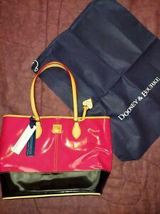 Dooney Bourke Patent Leather Handbag Pink & Black w/ Dust Cover...NEW