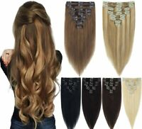 8 Pieces Double Weft Clip In Extensions Real Human Hair Remy Hair Extensions HOT