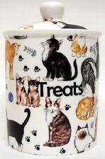 CAT DOLCETTI contenitore BONE CHINA Gatti Collage alimenti per animali da compagnia DOLCETTI Storage Jar Decor UK