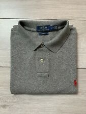 Mens POLO by RALPH LAUREN Slim Fit Pique Polo Shirt Top Size Large L | Grey