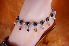 Pair of Bollywood Designer Oxidized Cz Silver Tone Indian Anklets Payal Padj13