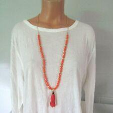 Unknown Brand Beaded Tassel Pendant Necklace Orange NWT