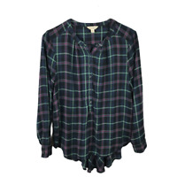 Lucky Brand Womens Blouse Size M Multicolor Shirttail Flannel Popover Button Top