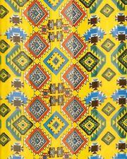 "Aztec Print Blue Orange Brown Yellow Background Satin Stripe 13"" x 60 Long Scarf"