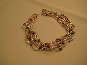 Multi-strand freshwater white, pink, blue, copper, etc. pearl necklace-SALE