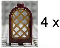 LEGO - 4 x Fenster 1x2x2 2/3 braun mit Gitter pearl gold / 30044 30046 NEUWARE