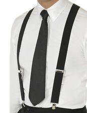 anni '20 1920s Bretelle GANGSTER CAPONE Costume regolabile nero Nuovo Da Smiffys