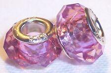 2PC February Birthstone Purple Crystal Acrylic Beads for European Charm Bracelet