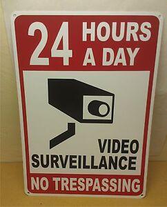 "24 Hour Video Surveillance No Trespassing 12"" x 18"" Security Sign"