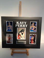 UNIQUE PROFESSIONALLY FRAMED, SIGNED KATY PERRY PHOTO COLLAGE WITH PLAQUE.