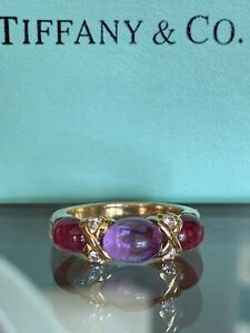 Tiffany & Co 18K Diamond Pink Tourmaline Amethyst Cabochon X Ring Band 2.87 TCW