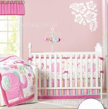 Baby girls Pink Elephant Nursery Bedding Set Crib Cot Sets Nursery Decor
