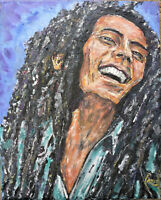 MR BOB MARLEY new oil painting 8x10 canvas Reggae original signed art by Crowell