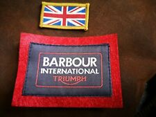 Barbour Embroidered Iron Sew on BARBOUR INTERNATIONAL Patch Union Jack GB Badge