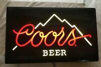 "Vintage COORS Lighted Beer Bar Sign.  Works Great!  25"" x 15"""