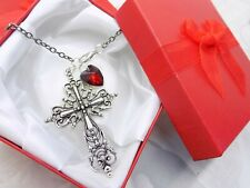 Gothic Red Heart & Tibetan Silver Cross Car Mirror Hanging Ornament *GIFT BOXED*