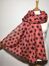 Thistle Print Scarf Coral with Green Pink /& Brown Thistles Superb Soft Quality
