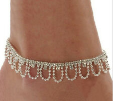 Silver Plated Rhinestone & Swag Chain  Foot Ankle Bracelet. Anklet Chain. UK