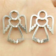 16771*20PCS Antique Silver Vintage Angel Spacer Beads Frame for DIY Crafts Alloy