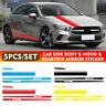 5pcs Car Racing Long Stripe Body Decal Side Rear View Mirror Hood Vinyl