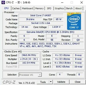 Intel Core i7-6700 ES QH8F 4C 2.2GHz A0 LGA1151 14nm Skylake