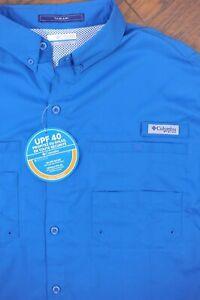 NWT Columbia PFG Tamiami II LS Shirt Blue Men's Large L