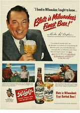 1950 Blatz Beer Victor McLaglen actor movie star Vintage Print Ad