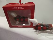 Dachshund Christmas Holiday Fringe Ornament Red & White Checker Sweater NEW