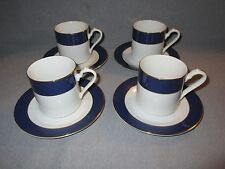 Set of 4 Sango Imperial Collection Blue 560 Fine China Japan Coffee Cup & Saucer