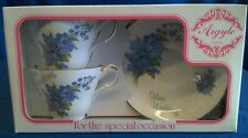ARGYLL CHINA SILVER WEDDING ANNIVERSARY TEACUPS & SAUCERS ENGLISH BONE CHINA