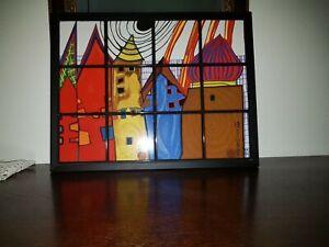 """""""Hundertwasser"""" Häuser in 12 Fliesen, gerahmt mit Original Zertifikat ."""